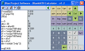 Click to view Blue MATH Calculator 1.0.001 screenshot