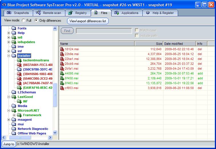 check windows registry changes